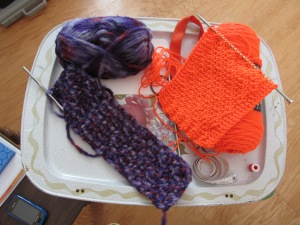 The item on the left is the headband for Alyse and the item on the right is the scarf for Kenlee.