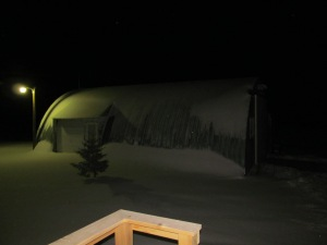 Snow on the shop two nights ago.