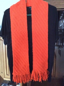 Finished scarf hanging against a black shirt.