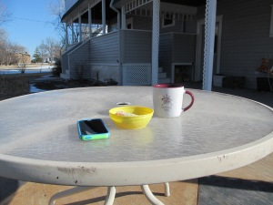 Table to relax and have coffee in the sunshine.