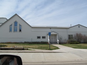 Front door to UCC church in Eagle Butte. The far right is Sunday School and kitchen addition. I believe there is a day care there now.
