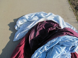Blankets on the ground to de-frost.