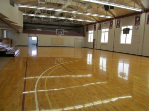 Inside of the old gym. This is where they still play volleyball.