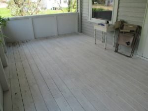 The porch, empty and scrubbed.