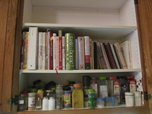 Cookbooks on the shelf.