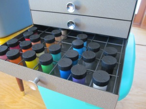 Paint in mini cabinet