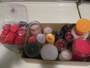 Box of candles before I put them on the tables.