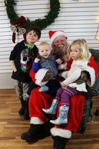 Grandchildren with Santa.