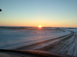 Sunset heading home on State Highway 10 southeast of Herreid.