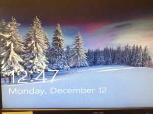 Snow scene on the desk top computer.