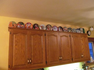 Cookie tins on the cupboard!