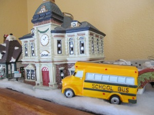 Christmas Village School and bus