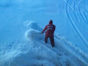 James shoveling