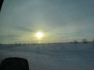 We saw sundogs on the way to church, but the were so wide, I am sure that I could not capture them with a small camera.